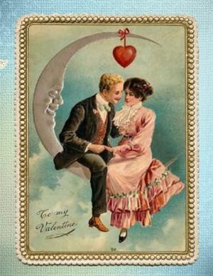 Nostalgische Valentijnskaart begin 19e eeuw